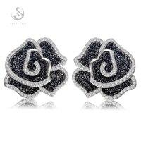 Eulonvancharm trendy big charm Wedding 925 sterling silver earrings for women girl fashion Black and White Cubic Zirconia S 3790