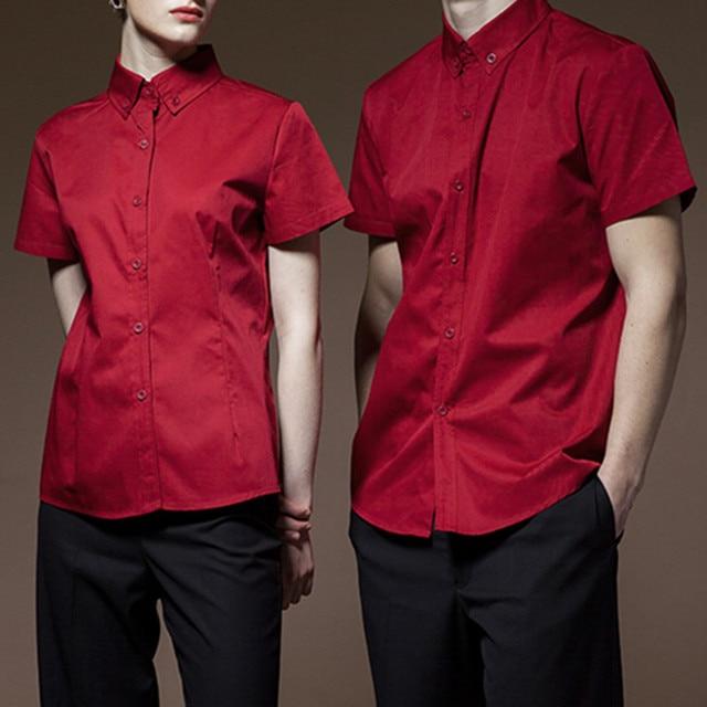 Poly Cotton Short Sleeve Shirt Hotel Restaurant Chef Kitchen Uniform Barista Bistro Diner Baker Bartender Catering Work Wear D43