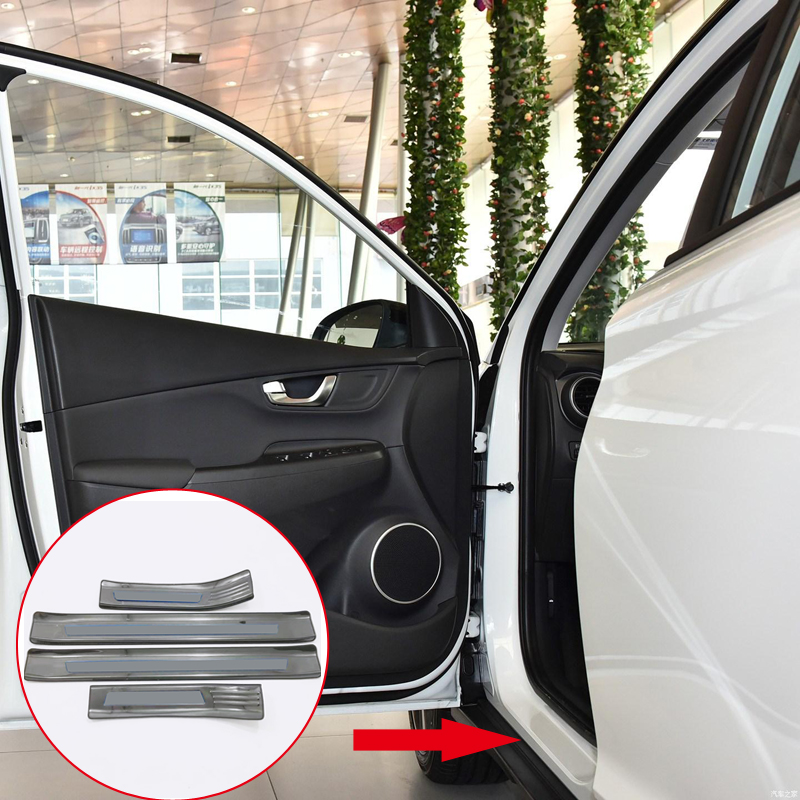Car Styling Accessories 4PCS Stainless Steel Outer Door Sill Scuff Threshold Plate Cover Trim For Hyundai Kona 2017 2018