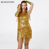 BLINGSTORY Europe Three Pieces Sequin Adult Performance Ballroom Dance Competition Dresses Latin Tassel Dress Gold KR7006 1