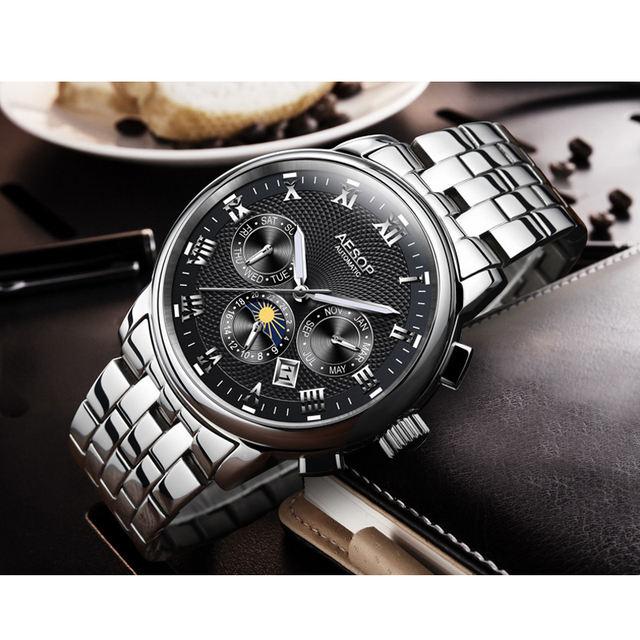AESOP Fashion Men Watch Men Automatic Mechanical Blue Wrist Wristwatch Stainless Steel Male Clock Relogio Masculino Box 2018 31