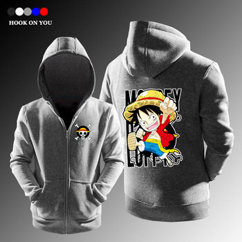 2017 New Arrival Hot One Piece Men Zipper Cardigan Hoodie Casual Fleece Monkey D Luffy Print Clothes Cool Tops Funny Sweatshirts