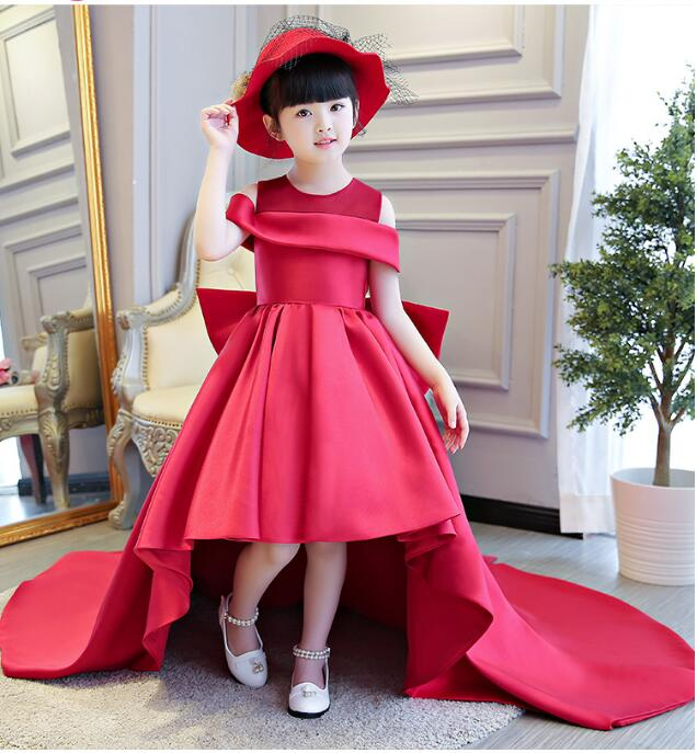 Red Luxury Long Tailing Princess Flower Dress Royal Mermaid Ball Gown Kids Pageant Dress For Birthday Wedding M38 2018 royal princess shoulderless flower ball gown dress long tailing sweet luxury backless kids pageant for birtyday party dress