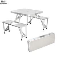 Homdox Outdoor Tables Portable Folding Desk Aluminum Alloy Picnic Table With 4 Seats Camping Garden Desk
