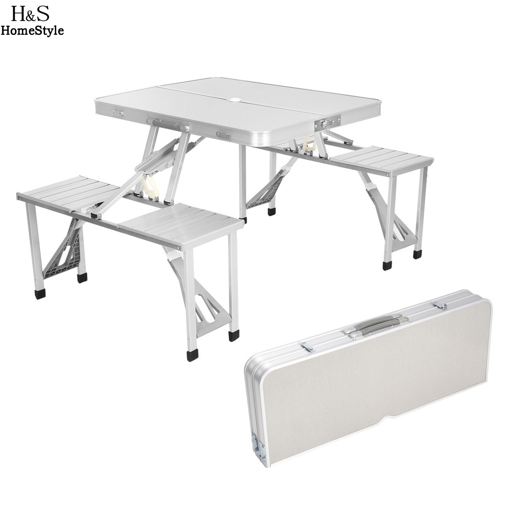 Homdox Outdoor Tables Portable Folding Desk Aluminum Alloy Picnic Table with 4 Seats Camping Garden Desk folding outdoor tables portable camping dining table beach tables