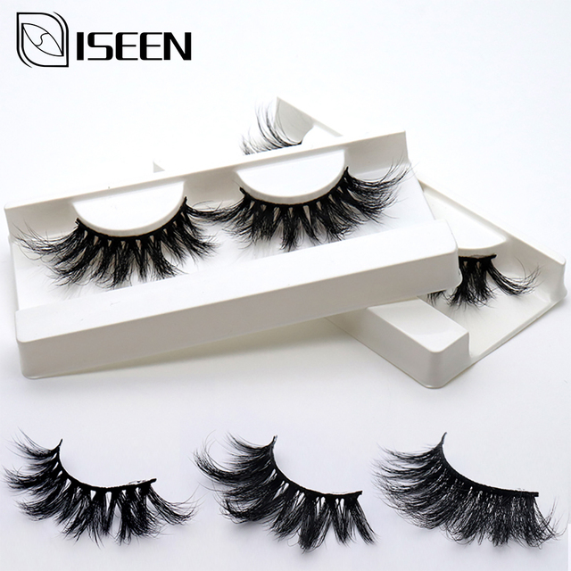 ISEEN 25mm 3D 100% mink Eyelashes Mink lashes Long Lasting Cross style Mink Lashes Natural Dramatic Volume Eyelashes Extension