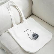 2018 New Fashion Women Cat Shopping Bags Animal cartoon fur ball shoulder bag soft cute student arts canvas Eco Totes