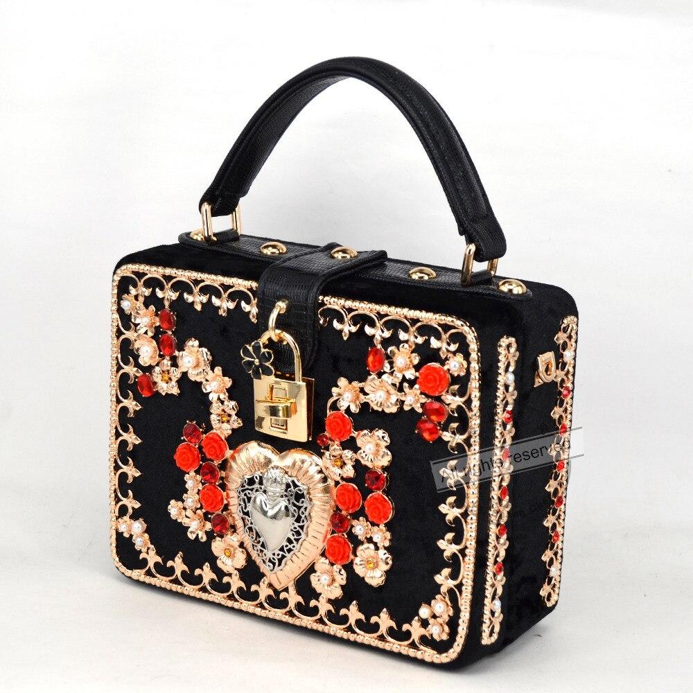 Fleur Rouge Coeur Designer Marque Mini Fourre Tout Sac A Rabat En