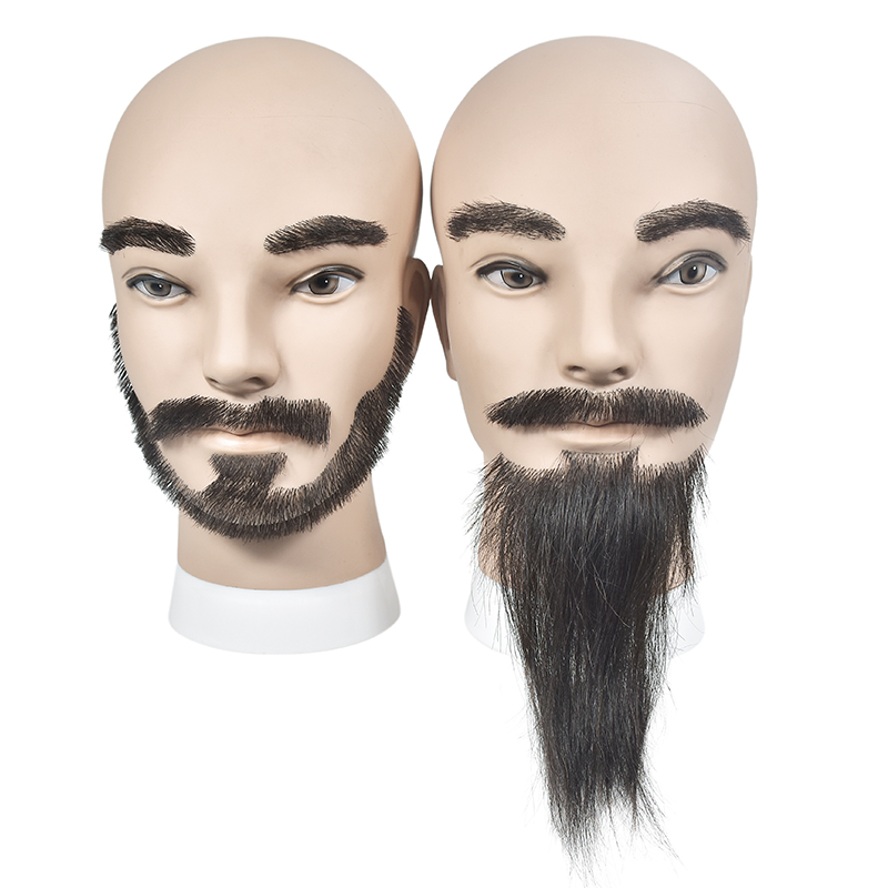 Men Real Hair With Beard Hairdressing Cosmetology Mannequin Manikin Training Training Head With Clamp Stand