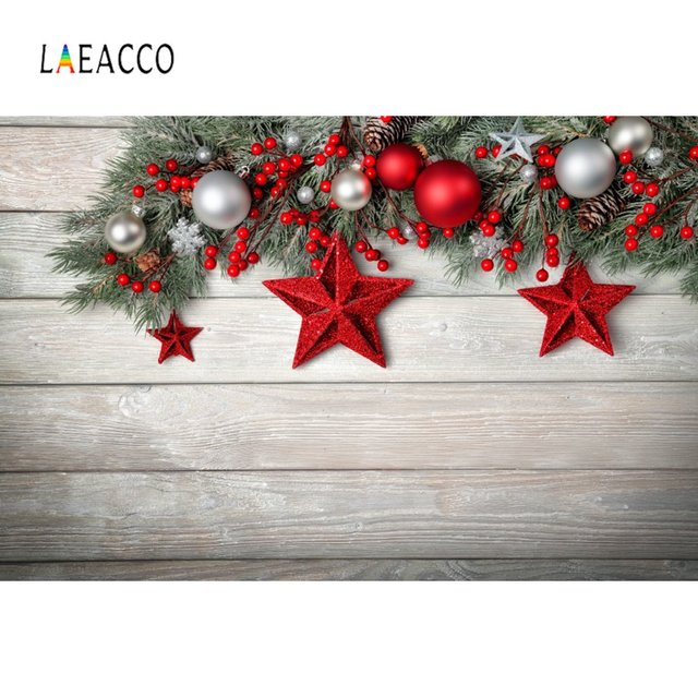 Laeacco Christmas Backdrops Ball Bauble Star Pine Gray Wooden Board Party Decor Photographic Backgrounds Photocall Photo Studio
