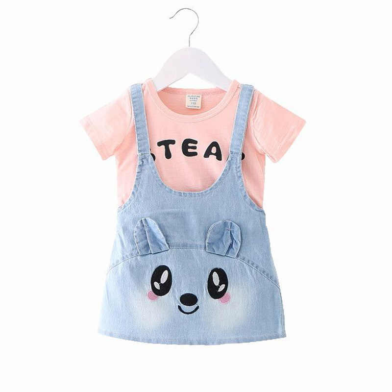 Baby Girl's Dress  Summer Style Animal Smiley Cartoon Modeling Cute Baby Clothes Pink and White Color