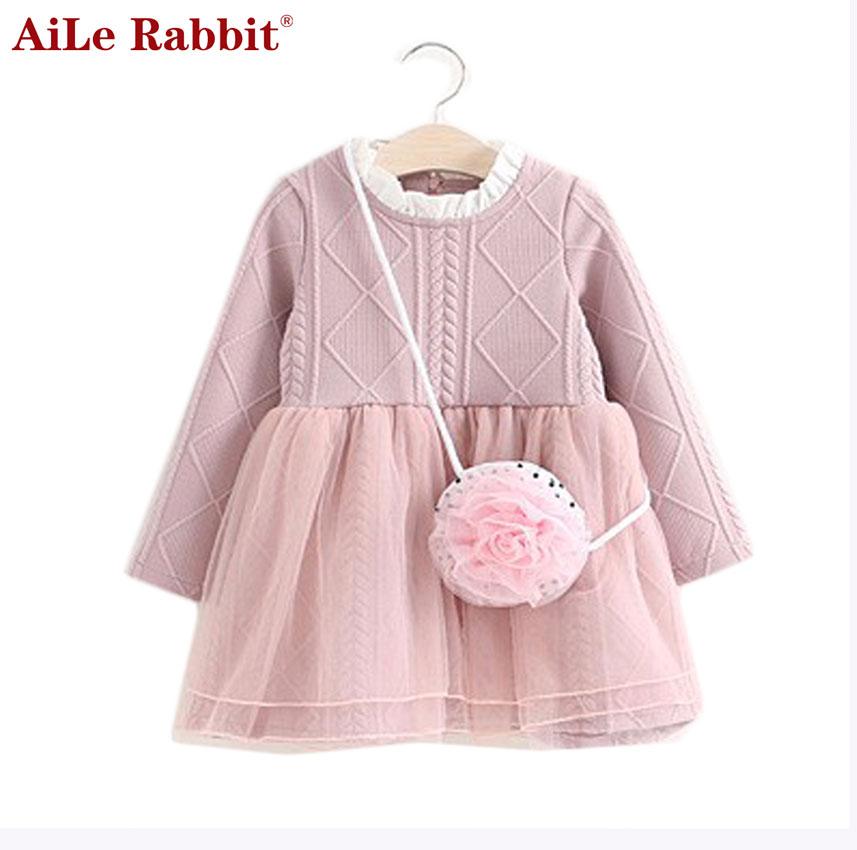 Вязаное платье с длинным рукавом детское