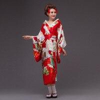 2017new Japan Kimono Women Geisha Kimono Prom Dress Vintage Original Tradition Silk Yukata Dress with Obi Sexy costumes 8colors