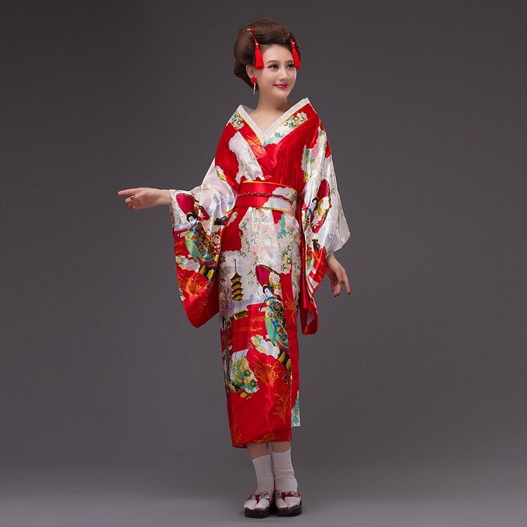 2017new japon Kimono femmes Geisha Kimono robe de bal Vintage Original Tradition soie Yukata robe avec Obi Sexy costumes 8 couleurs