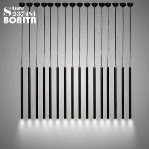 Led droplight Лофт современные подвесные светильники для столовой маленькая длинная трубка цилиндрическая круглая трубка черный Алюминиевый шн...