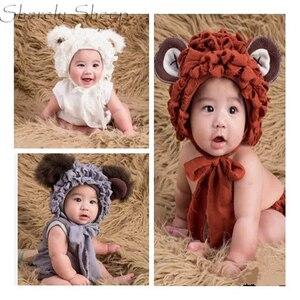 Baby Boy Girl czapka niedźwiedź + pajacyki sesja zdjęciowa stroje niemowlę fotografia rekwizyty akcesoria fotograficzne Baby Shoot kostium kreskówkowy