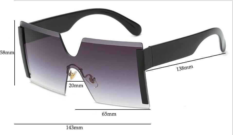 f595810ae22 Women s Oversized Glasses Semi Rimless Square Sunglasses – Fomoloo