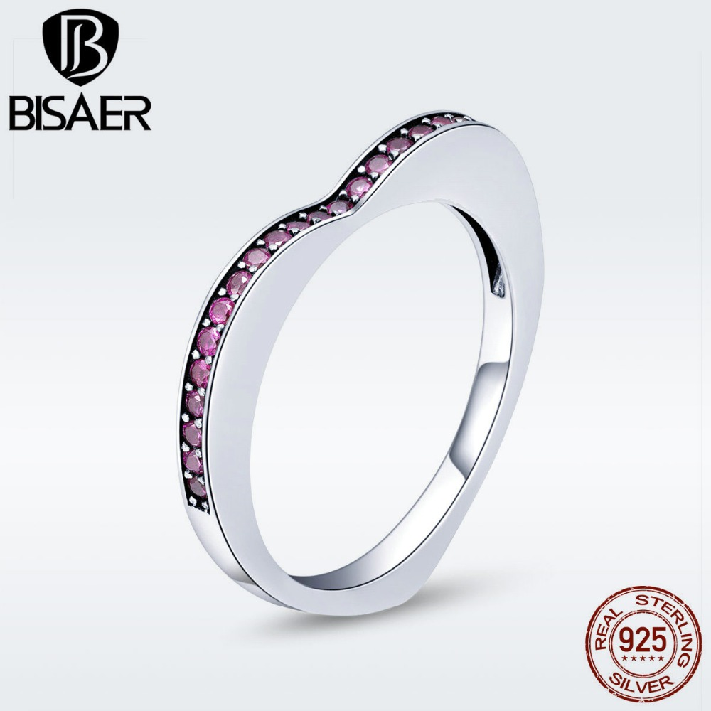 BISAER 925 Sterling Silver Simple Geometric Wedding Rings For Women Pink CZ Heart Ring Female Sterling Silver Jewelry ECR427