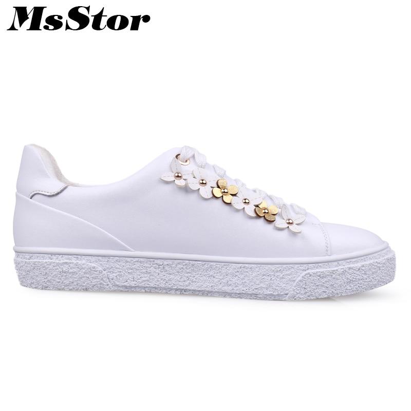 Nouveau Pour 2018 Cuir Chaussures Msstor Arrivent Véritable Femmes Noir Fille En Rivet Blanc blanc Plat Femme Fleur Appartements Mode vHRqvp0