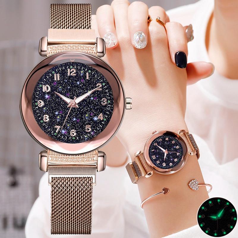 Colors Starry Sky Luminous Luxury Fashion Women Watches Magnet Female Quartz Wristwatches Flowers Surface Designer Ladies Watch