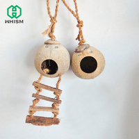 WHISM Wooden Grinded Coconut Shell Parrot Toys Macaw Cockatiel Hamster Handmade House Climbing Matching Ladder Bird