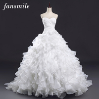 Fansmile Sexy Strapless Vintage Lace Up Ruffles Ball Wedding Dresses 2017 Real Photo Plus Size Customize