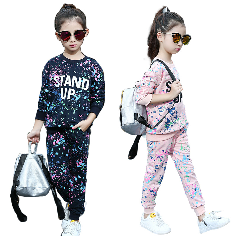 Spring Girl Clothing Sets Letter T-shirts+ Graffiti Pants Children Clothes Set 5-11 Years Kids Sports Suit Teenagers Tracksuit new 2018 spring girls clothing sets kids graffiti sweatshirt sports tracksuit suit set for children teenagers girls clothes 54