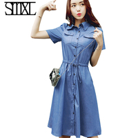 Denim Kleid Neue Trendy A-linie Shirt Jean Kleid Midi Blau Frauen Elegante XXl baumwolle slim Cowboy Lose Jeans Kleider Herbst