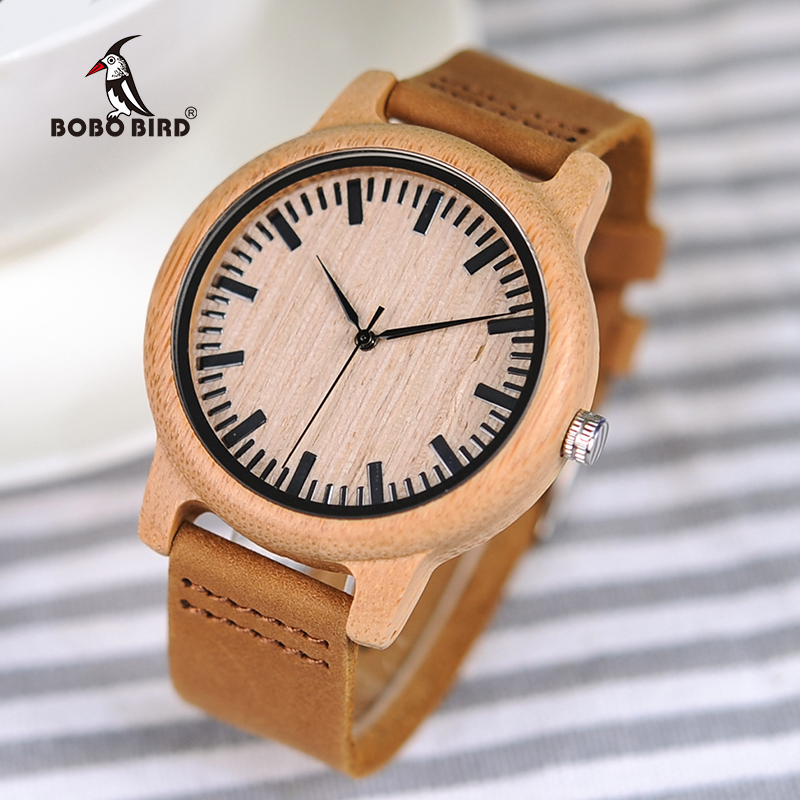 BOBO BIRD Bamboo Watches for Men and Women Relogio Masculino Quartz Wristwatches Ideal Gifts C-A16 Drop Shipping drop shipping watches for men women ultra slim quartz watch with simple nylon band relogio masculino wristwatches free shipping