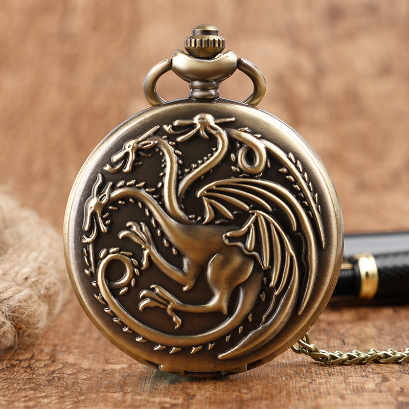 Game Of Thrones Theme Quartz Pocket Watch Family Crests House Targaryen Drogan Design Fob Watch Necklace Chain Gifts