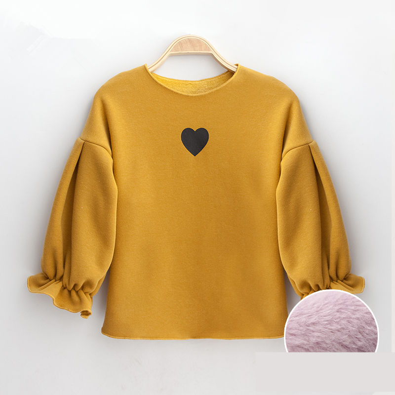e70ae39ed Floral Puff Sleeve Design Baby Girls Sweatshirt Winter Inner Velvet ...
