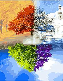 Us 2412 10 Offmahuaf W779 Baum Von Vier Jahreszeiten Malen Nach Zahlen Auf Leinwand Wandbilder Färbung Durch Zahlen Mit Acrylfarben In