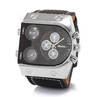 10 шт. в партии OULM Модные Дизайнерские брендовые кварцевые часы для мужчин 3 часовых пояса с большим лицом из натуральной кожи Часы Montre Homme de ...