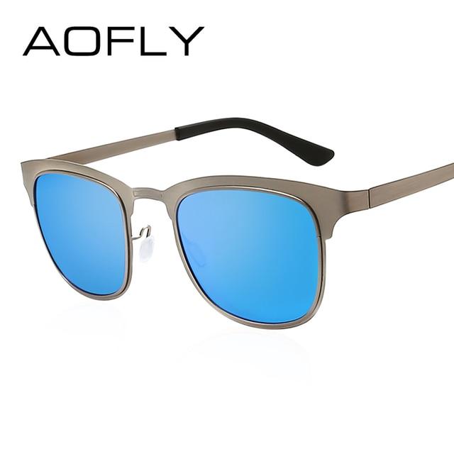c93fb85a23 AOFLY Men Polarized Sunglasses Square Sunglasses Men Women Brand Designer Female  Mirror Eyewear Vintage oculos De
