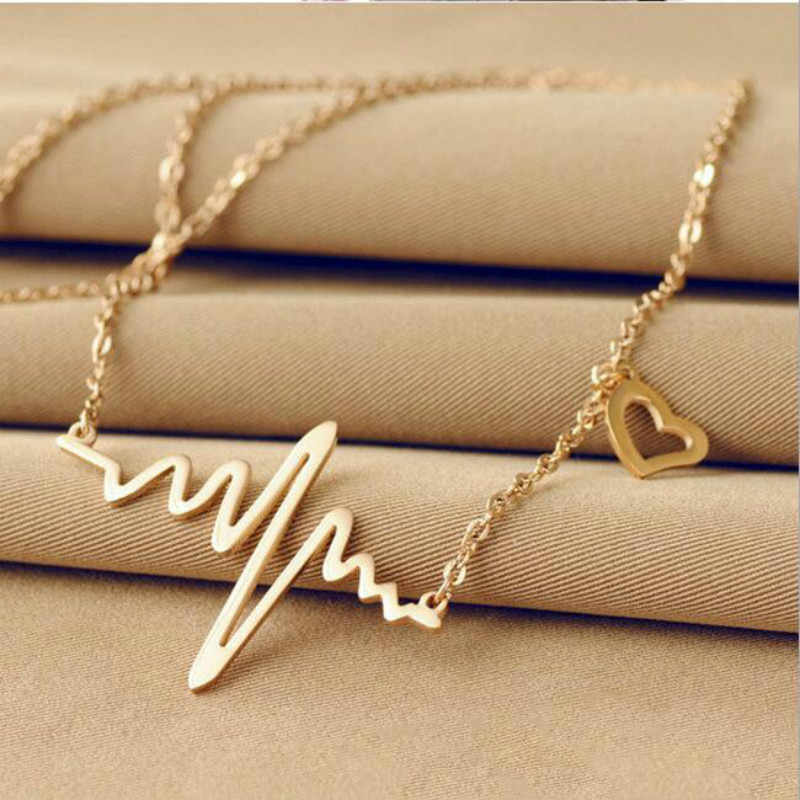 South Korea Love Heart Shaped Titanium Necklace Imitation Ecg Heart Pendant Chain Winnings Jewelry Wholesale Female Clavicle