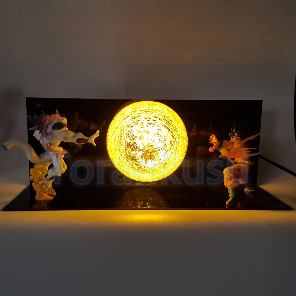Dragon Ball Z Action Figure  Son Goku VS Freeza Fighting Flash Ball DIY Display Toy Dragonball Goku Super Saiyan DBZ DIY151 free shipping super big size 12 super mario with star action figure display collection model toy