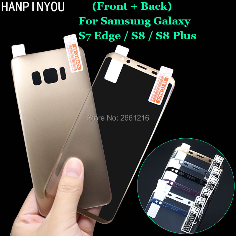 For Samsung Galaxy S8+ S8 Plus (Back + Front) 3D Curved Plating Full Covering Soft PET Film Screen Protector -Not Tempered Glass
