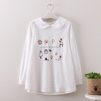 White Shirts Peter Pan Collar Cotton Linen Tops 2017 Autumn Long Sleeve Funny Cartoon Embroidery Blouse