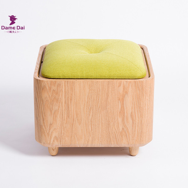 Us 189 0 Wooden Organizer Storage Stool Ottoman Bench Footrest Box Coffee Table Cube Ottoman Furniture Fabric Cushion Top Ottoman Seat In Stools