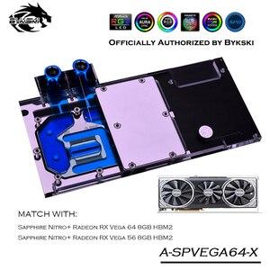Bykski-bloc d'eau GPU couverture complète, carte graphique, refroidissement, dissipateur thermique, VGA Sapphire RX Vega 64, 8 go HBM2, modèle A-SPVEGA64-X