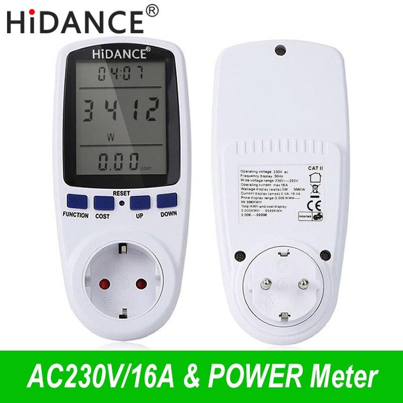HiDANCE AC metros 220 V digital vatímetro de energía de la UE medidor de vatios monitor el consumo de electricidad de hembra analizador