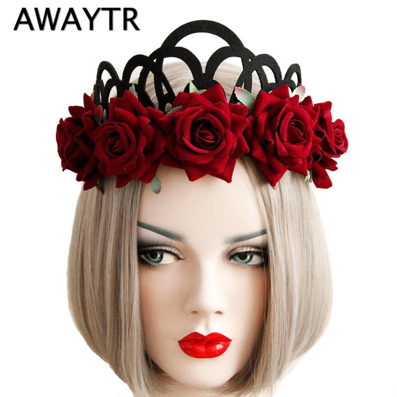 AWAYTR Λουλούδι Στεφάνι Γυναίκα Κορίτσια Floral Crown Tiaras Κεφαλάρι Boho Κόκκινο Ρόδι Λουλούδι Νύφη Μαλλιά Μαλλιών Αξεσουάρ Μαλλιών