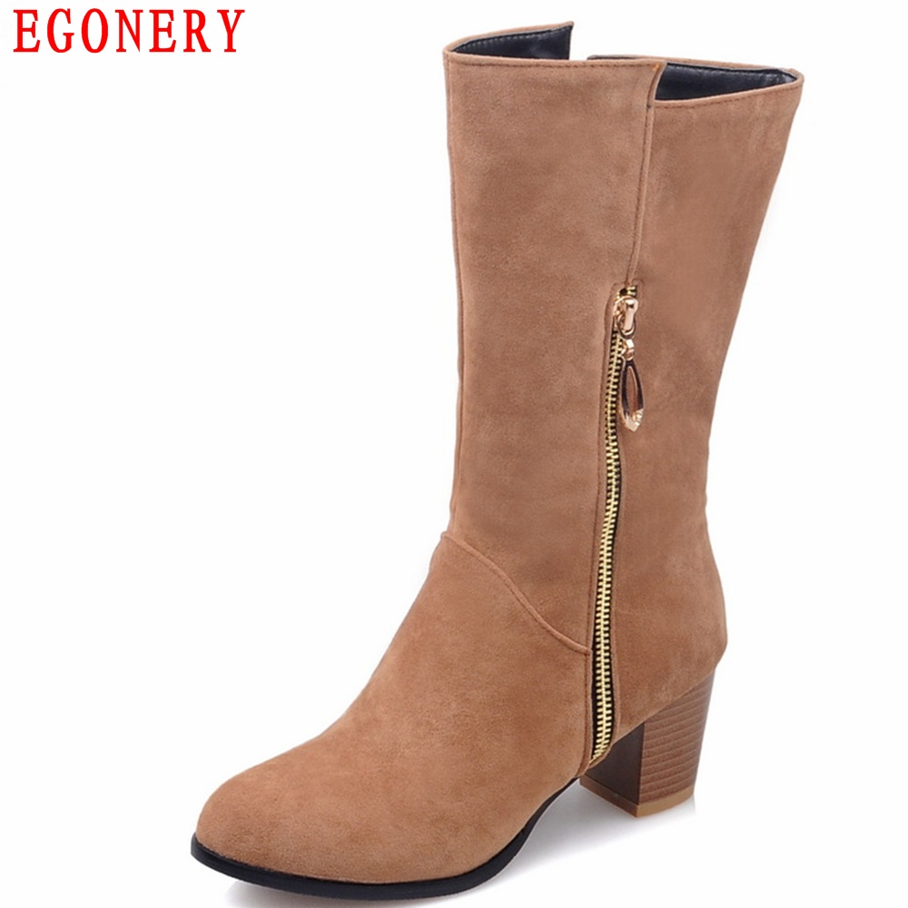 EGONERY New Zipper Nubuck Square High Heels Fashion Womens Spring Autumn Boots Short Boot Shoes Woman egonery quality pointed toe ankle thick high heels womens boots spring autumn suede nubuck zipper ladies shoes plus size