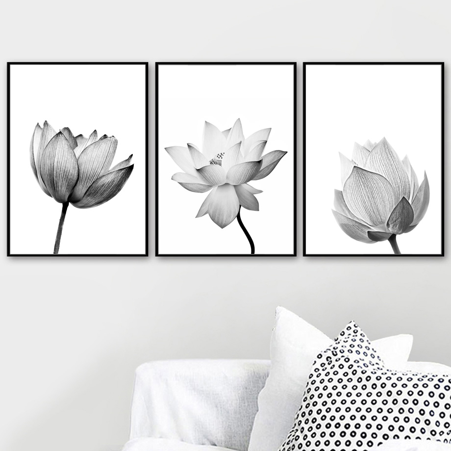 Canvas Painting Black White Wall Art Print Lotus Flower Pop Art