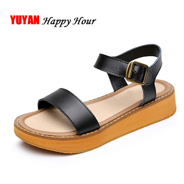 f7818ca6f New 2019 Summer Sandals Women Summer Shoes Flat Platform Beach Sandals  Women's Brand Footwear Thick Sole Plus Size 43 ZH2545