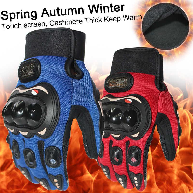 Novo grosso manter quente dedo cheio luvas da motocicleta motocross luvas gants guantes moto engrenagens de proteção luva preto azul cor vermelha