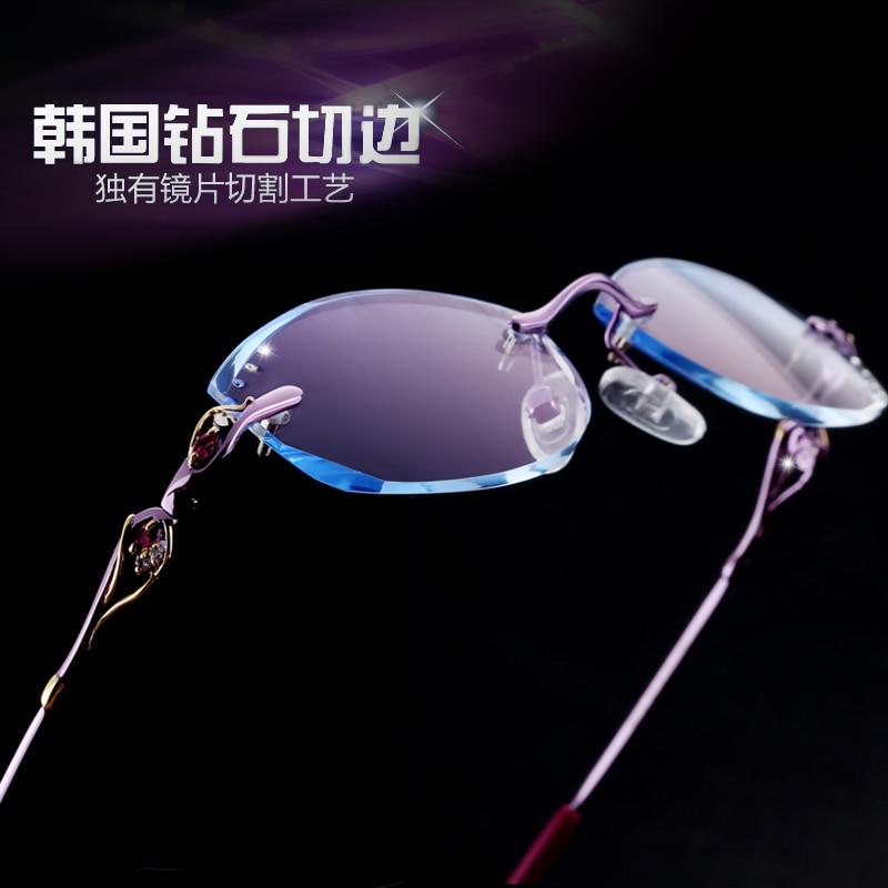 Strahlung Kunden Myopie Multifokale Gläser Diamant Frauen Rahmenlose Hyperopie Brille Progressive Schneiden Beweis XXwTzx0