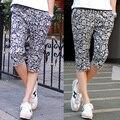 Moda de verano Nuevos hombres de la Marca pantalones con Impreso cintura elástico de Algodón Masculina Casual pantalones capri envío libre