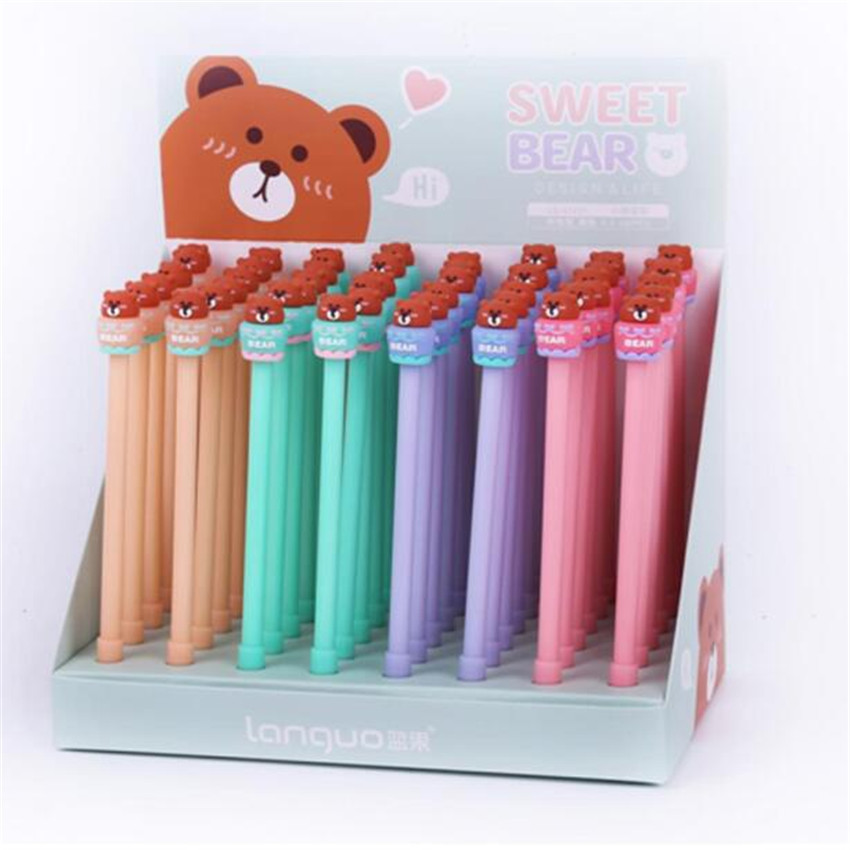 48 pcs Gel Pens Cartoon Cake bear black colored kawaii gift gel ink pens pens for