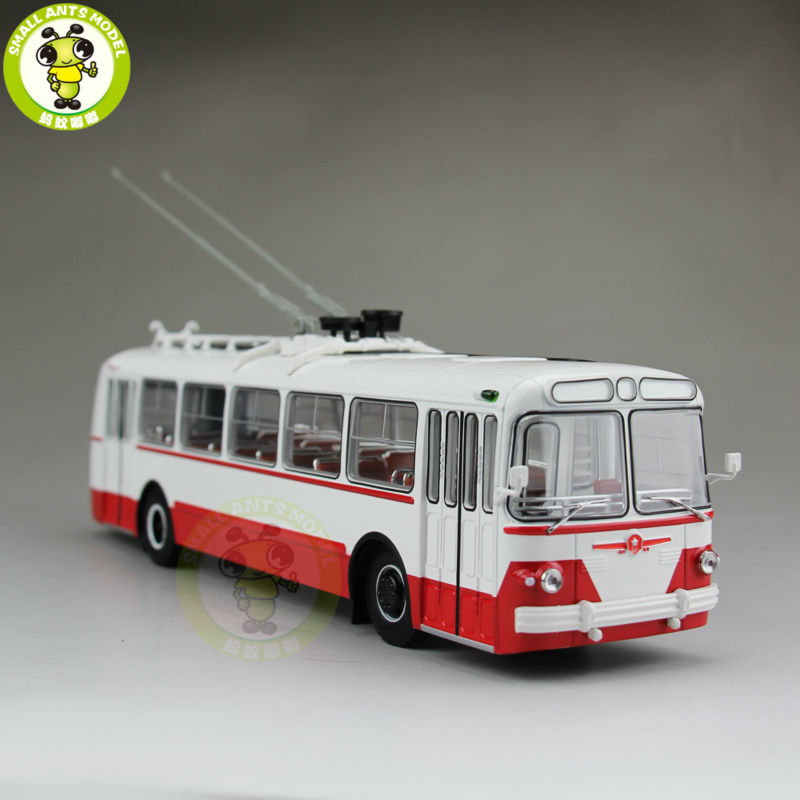 1/43 ZIU-5 ZIU 5 Russian Soviet Trolleybus Bus Classic 04006B Diecast Model Red 1 43 ankai bus sightseeing tour of london bigbus big bus diecast model bus open top